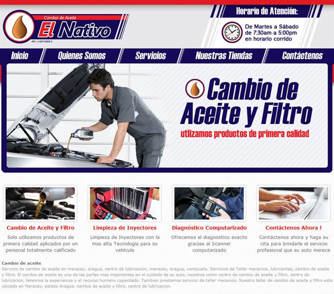 Cambio de Aceite El Nativo. Diseño y desarrollo Web